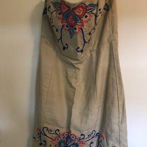 Banana Republic Linen embroidery Strapless Dress 8